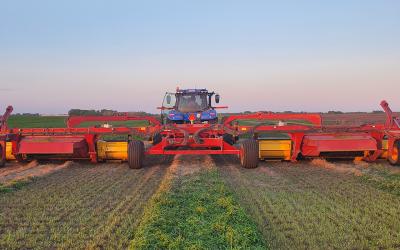 Canadian-made triple cutter cuts big hay swath
